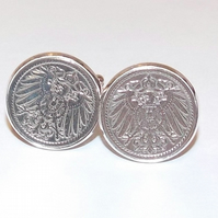 German Empire Imperial Eagle Coin Cufflinks in silver plated mounts, 5 Pfennig G