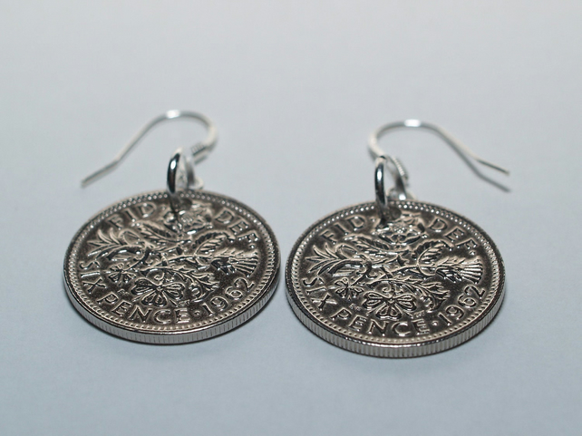 1963 56th birthday lucky sixpence earrings - WOW great gift idea