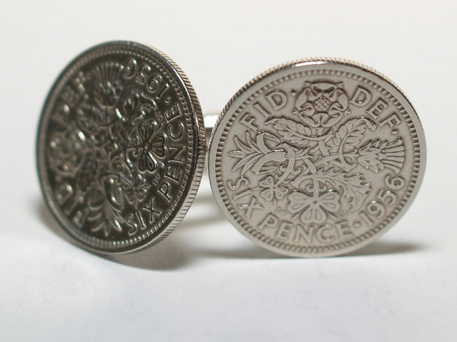 1956 Sixpence Cufflinks 63rd birthday. Original sixpence coins Great gift from 1