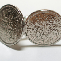 1953 Sixpence Cufflinks 66th birthday. Original sixpence coins Great gift from 1