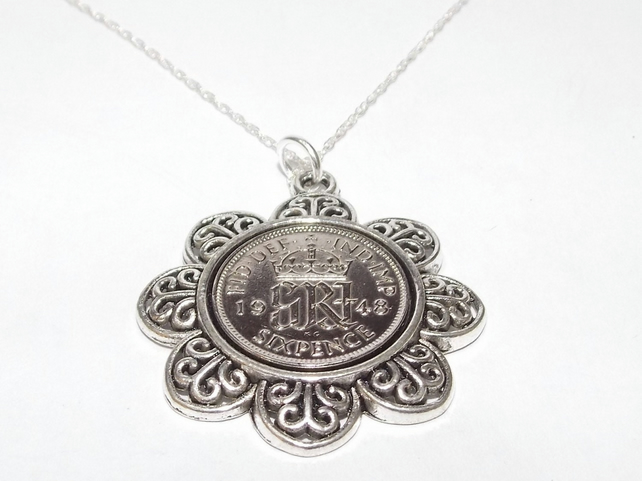 Floral Pendant 1948 Lucky sixpence 71st Birthday plus a Sterling Silver 18in Cha