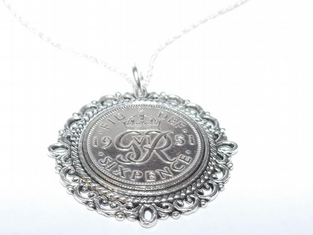 Fancy Pendant 1951 Lucky sixpence 68th Birthday plus a Sterling Silver 18in Chai
