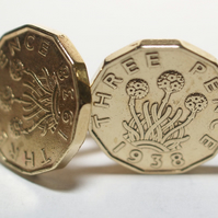 1938 Threepence 3d 81st birthday Cufflinks - Original 1938 threepence coin cuffl
