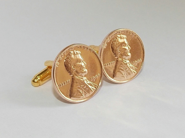 1944 75th Birthday Anniversary 1 cent lincoln coin cufflinks 73rd 1944