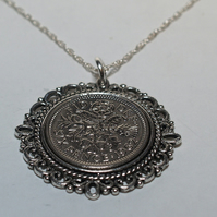 Fancy Pendant 1963 Lucky sixpence 56th Birthday plus a Sterling Silver 18in Chai