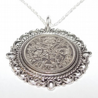 Fancy Pendant 1958 Lucky sixpence 61st Birthday plus a Sterling Silver 22in Chai