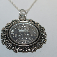 Ornate Pendant 1943 Lucky sixpence 76th Birthday plus a Sterling Silver 18in Cha