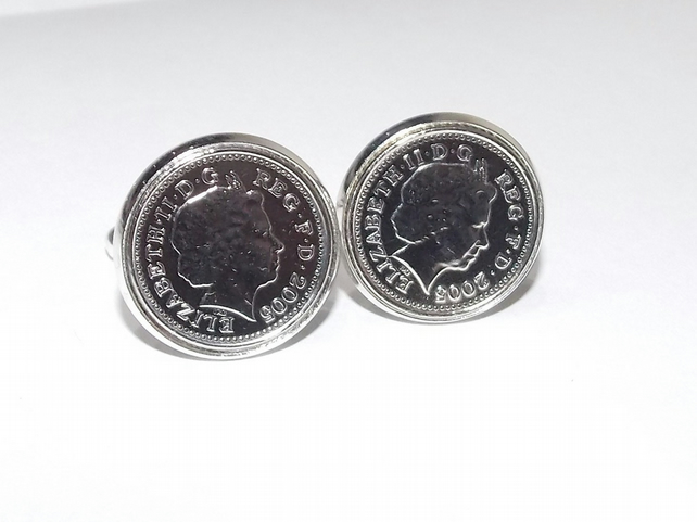 2009 10th Anniversary Tin Wedding Anniversary coin cufflinks - for a wedding in