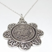 Floral Pendant 1956 Lucky sixpence 63rd Birthday plus a Sterling Silver 18in Cha