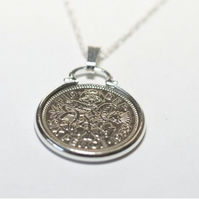 1955 65th Birthday Anniversary sixpence coin pendant plus 18inch SS chain 65th