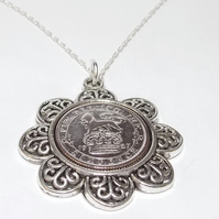 Floral Pendant 1927 Lucky sixpence 93rd Birthday plus a Sterling Silver 18in Cha