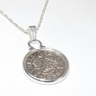 1935 84th Birthday Anniversary 3D Threepence coin pendant plus 18inch SS chain 8