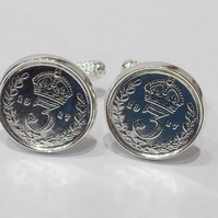 1919 Silver Threeepence Cufflinks 100th birthday, 100th birthday gift, 100th gif