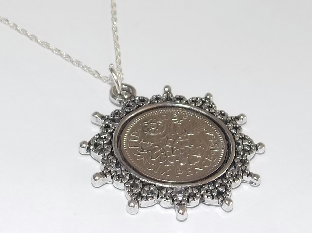 Star Pendant 1966 Lucky sixpence 53rd Birthday plus a Sterling Silver 18in Chain