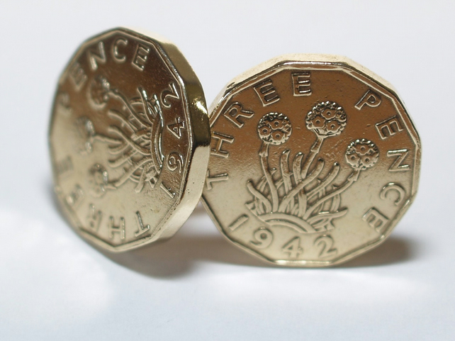 1942 Threepence 3d 77th birthday Cufflinks - Original 1942 threepence coin cuffl