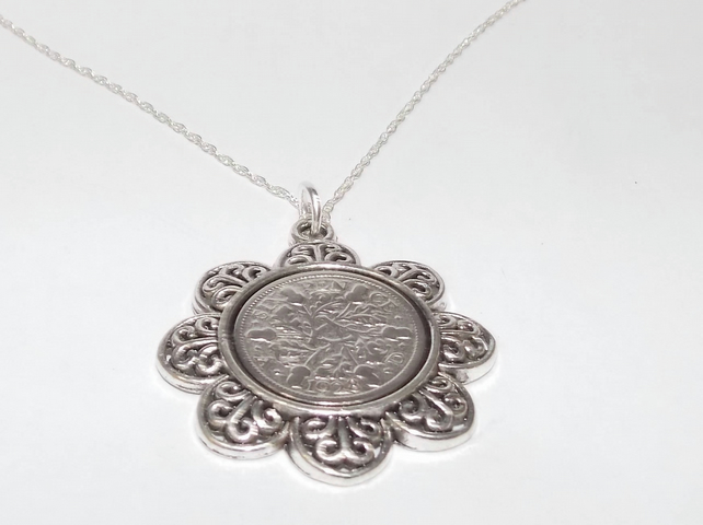 Floral Pendant 1929 Lucky sixpence 90th Birthday plus a Sterling Silver 18in Cha