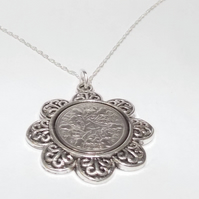 Floral Pendant 1930 Lucky sixpence 90th Birthday plus a Sterling Silver 18in Cha