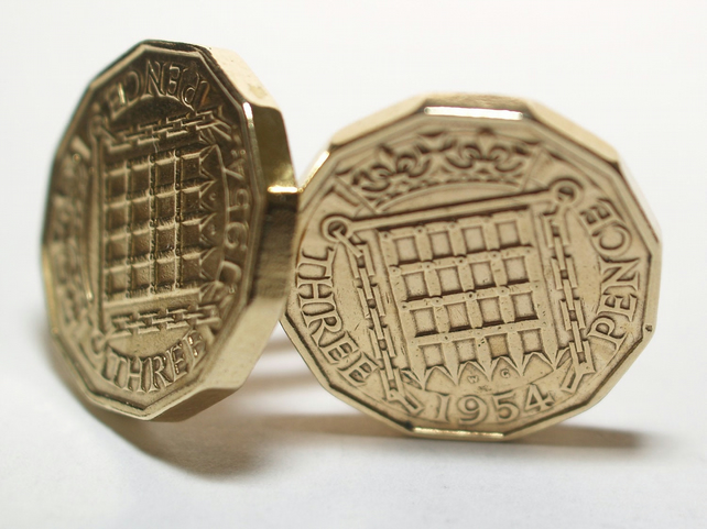 1954 Threepence 3d 65th birthday Cufflinks - Original 1954 threepence coin cuffl