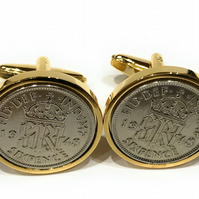 Luxury 1949 Sixpence Cufflinks for a 70th birthday. Original british sixpences i