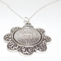 Floral Pendant 1937 Lucky sixpence 82nd Birthday plus a Sterling Silver 18in Cha