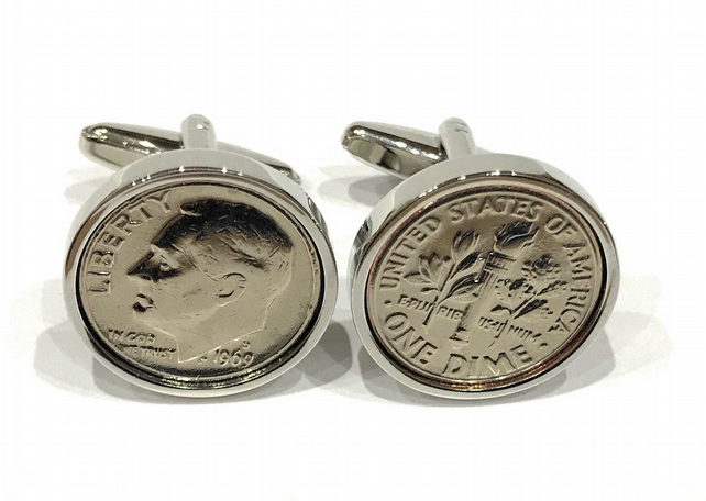 1998 American Dime coin cufflinks, Great Gift For A 21st Birthday Present Keepsa