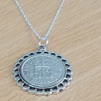 Fine Pendant 1945 Lucky sixpence 75th Birthday plus a Sterling Silver 18in Chain