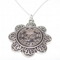 Floral Pendant 1952 Lucky sixpence 67th Birthday plus a Sterling Silver 18in Cha
