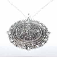 Fancy Pendant 1966 Lucky sixpence 53rd Birthday plus a Sterling Silver 18in Chai
