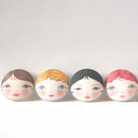 Covered Buttons - Doll Face Fabric Buttons (Set of 4)