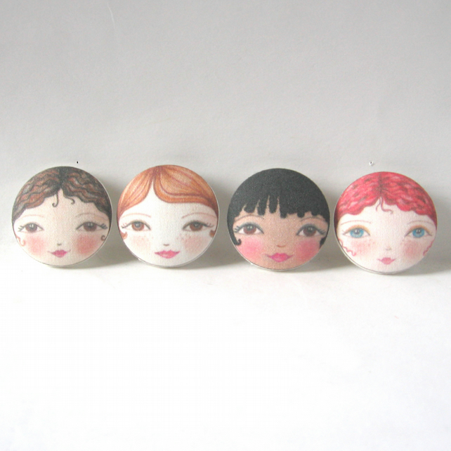 Designer Sewing Buttons - Doll Face Fabric Buttons (Set of 4)