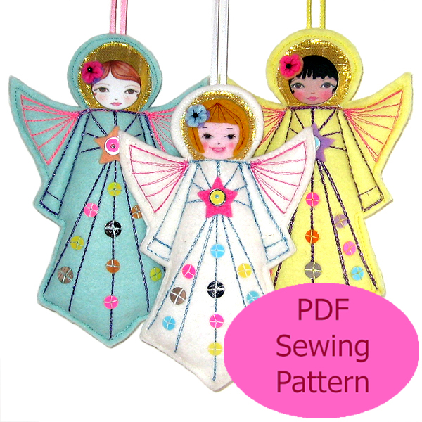 PDF Felt Angel Ornament Sewing Pattern