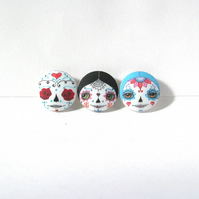 Day of the Dead Sugar Skull Doll Face Buttons (Set of 3)
