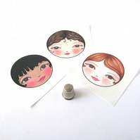 Doll making supplies - fabric doll faces set of 3