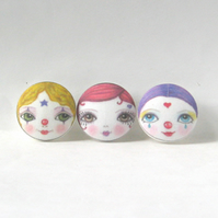 Cute Clown Buttons (Set of 3)