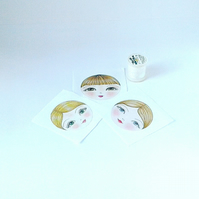 Craft Doll doll faces set of 3