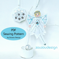 PDF Felt Frost Fairy and Snowflake Ornaments Sewing Pattern