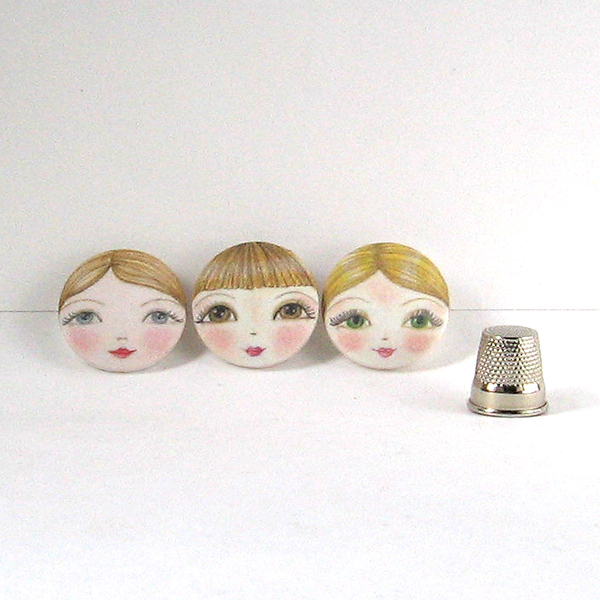 Doll Face Covered Buttons (Set of 3)