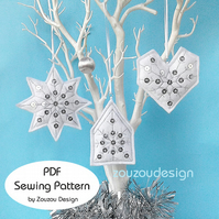 PDF Frosty Felt Christmas Ornaments Sewing Pattern