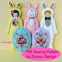 PDF Felt Bunny and Egg Ornaments Sewing Pattern