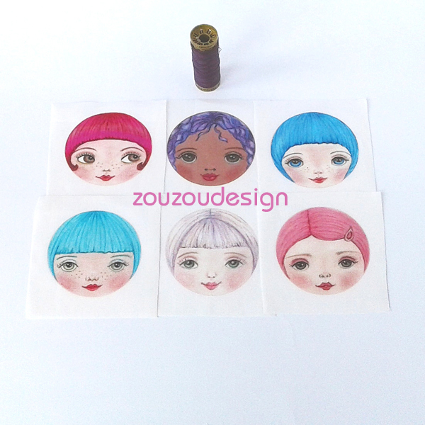 Doll Making Supplies Fabric Doll Faces (set of 6)