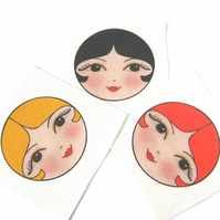 Craft Doll Faces, Sew in Fabric doll faces (set of 3)