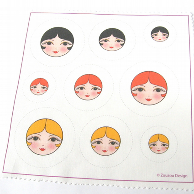 Make your own doll face self cover fabric buttons (Set of 9)