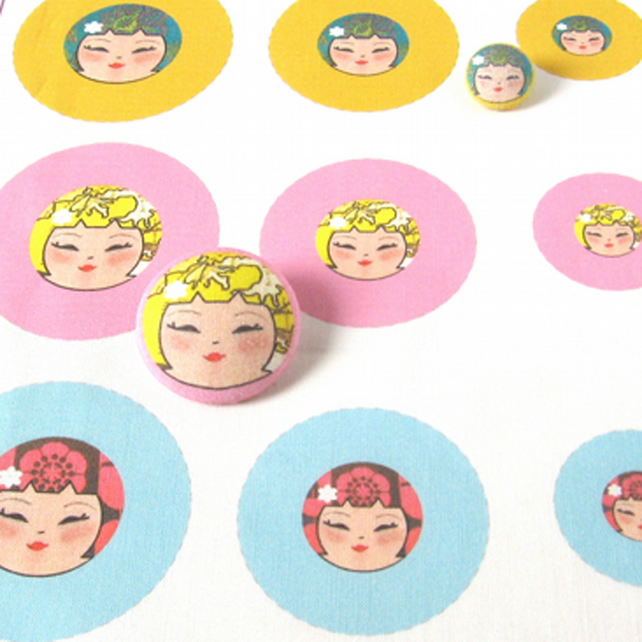 Fabric Panel - Make your own Funky Kokeshi covered buttons - set of 9 covers