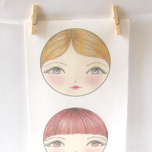 Applique SEW IN Matryoshka doll faces set of 3 - Natalia, Tatiana and Ekaterina