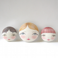 Sewing Buttons,  Doll Face Covered Buttons (Set of 3)