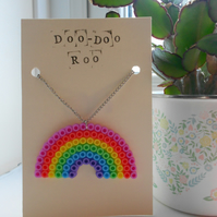 Pastel rainbow Hama bead necklace on silver chain
