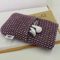 Upcycled purple and white wool iphone case with pouch