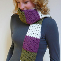 Moss green, purple and cream stripey scarf