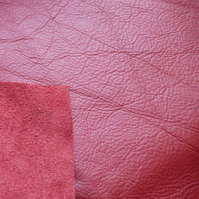 Genuine red leather offcut