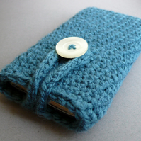 Petrol blue knitted iphone case